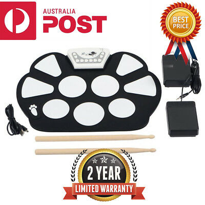 Portable Electronic Roll up Drum Pad Kit Silicon Foldable with Stick AU stock