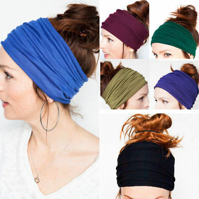 Women Elastic Stretch Wide Hairband Yoga Headband Turban Running Head Wrap