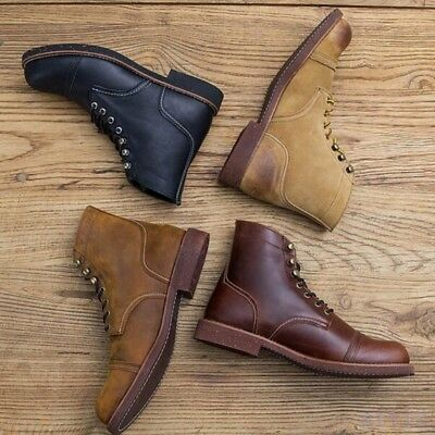 Vintage Mens Leather High Top Round Toe Lace Up Combat Work Casual Ankle Boots