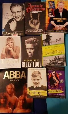 ROCK AND ROLL BOOKS BIOGRAPHIES BULK LOT  - postage available