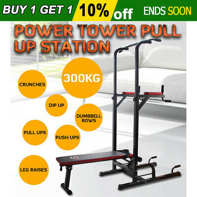 NEW Fitness Power Tower Pull up Dip Knee Raise Weight Bench Push up Station Gym