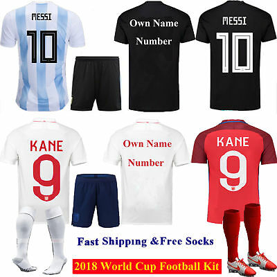 Football World Cup Home Away Kit Kids Boys Youth Short Sleeve Team Suit +Socks