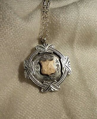 Antique Fob medal sterling silver and 9ct gold with chain