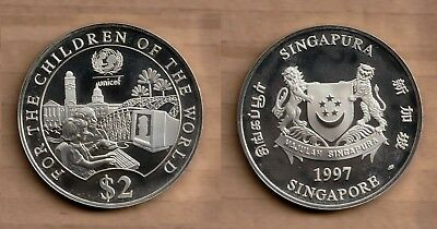SINGAPORE 2 Dollars (UNICEF) 1997 Silver (.925) – 20 g – ø 38.70 mm KM#156