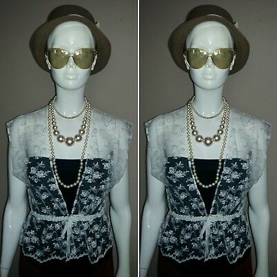 Vintage 1980's White Lace Summer Waistcoat. Size 10.