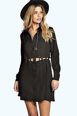 25a89d84f471 NEW Boohoo Darcey Black Lace Up Button Cage Long Sleeve Shirt Dress US SIZE  8