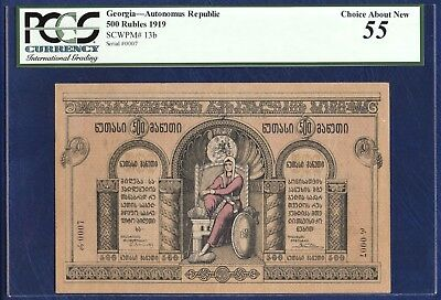 GEORGIA 500 RUBLES ROUBLES PICK 13b 1919 PCGS 55 CHOICE ABOUT NEW