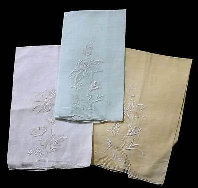 Vintage set of 3 Marghab pastel white embroidered table napkins 50cm