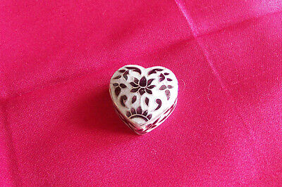 Silver 925 & Enamel Heart Shaped Pill Box, Enamelled To Lid And Sides.
