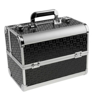 Black Aluminum Makeup Train Case Jewelry Box Cosmetic Organizer Lockable