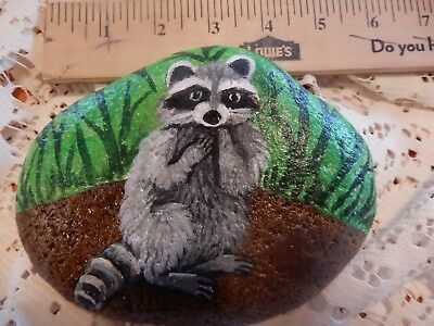 Original Hand Painted Rock RACCOON River Rock Stone Art Paperweight Gift