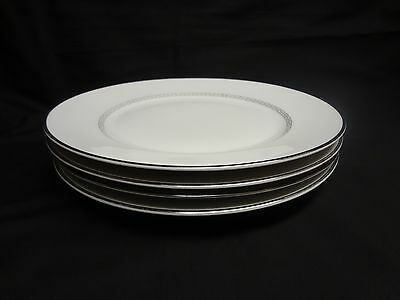 Heinrich Bavarian China - Silver Greek Key - Set of 4 Dinner Plates