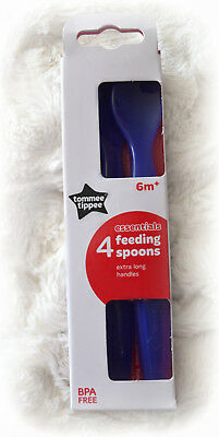Tommee Tippee 4 Pack Baby Weaning Feeding Spoons Extra Long Handles 6M+ Blue