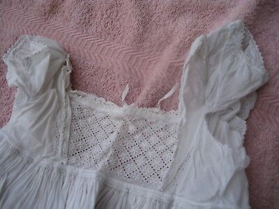victorian christening/night dress in white cotton
