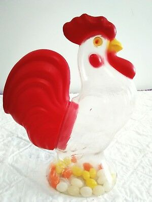 """Old Vintage Plastic ROOSTER Easter Candy Container, Holder Large 10.5""""in Tall"""