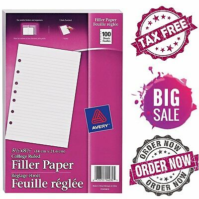 """Avery Filler Paper 5.5"""" x 8.5"""" 100 Sheets 7-Hole Binder Paper"""