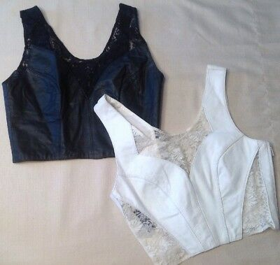 Lot Of Two Vintage Womens Chia Leather & Lace Crop Halter Bustier Top Size Small