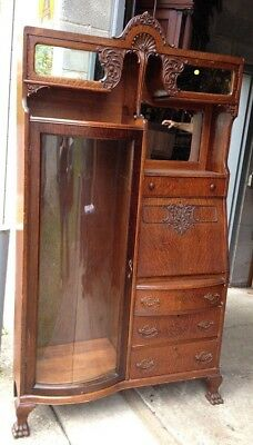 Victorian Oak Desk Bookcase Combination