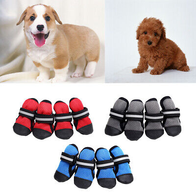4Pcs Breathable Mesh Dog Shoes Non Slip Boots for Small Large Dogs Reflective