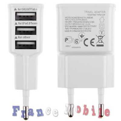 Chargeur Maison Mural Triple Port 3 USB 2 A Adapter Blanc pour Huawei Fly Doogee