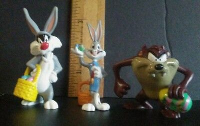 Warner Brothers Looney Tunes PVC Easter figures 1999 Bugs Bunny Sylvester Taz