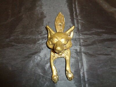 Vintage Wolf Coyote Fox Hound Door Knocker Unique Design Ornate Brass Figural