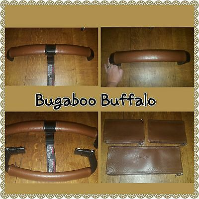 Bugaboo Buffalo faux leather zip on handle bar and bumper bar covers brown