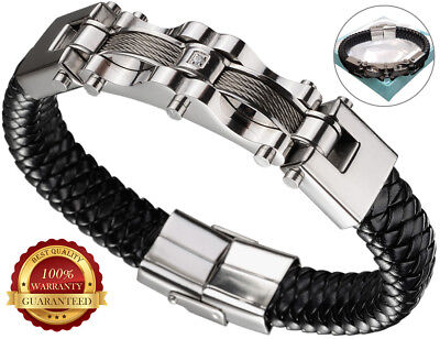 Faux Leather Bracelet Surfer Mens Wristband Braided Wrap Cuff Stainless Steel