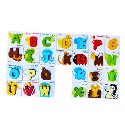 Kids Wooden Letter ABC Alphabet Animal Puzzle Pre-School Learning Jigsaw Toy