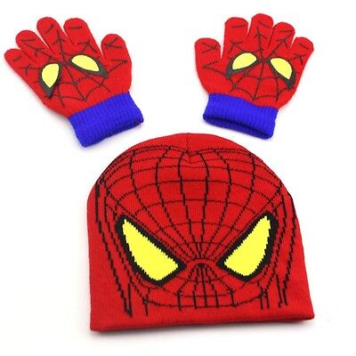 Winter Kids Boys Spiderman Minions Warm Knitted Hat Gloves Set Beanies Xmas Gift