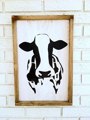 Cow Sign, Framed Cow Sign Farm Animal Sign, Bovine Wood Sign, Bessie The Cow