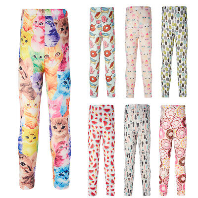 Cute Kids Girl's Colorful Skinny Leggings Casual Stretchy Pants Trousers 6-12T