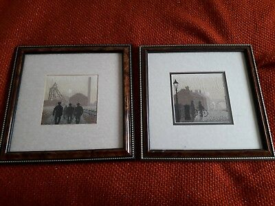 embroidery pictures framed.modern/ English coal mining / village life.Retro