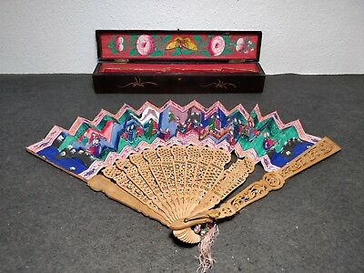 RARE ANTIQUE CHINESE HAND FAN 1000 FACES WITH LACQUER BOX TO REPAIR 19th CENTURY