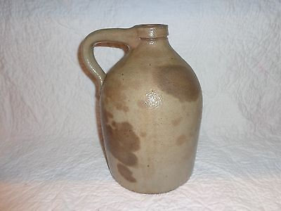 19th.c Antique Salt Glazed Stoneware Whiskey Jug, 1 Gallon, Mottled Glazing