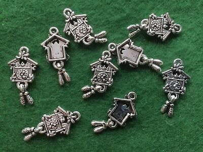 25 x Cuckoo Clock Antique Tibetan Silver Charm Pendant Antique Vintage