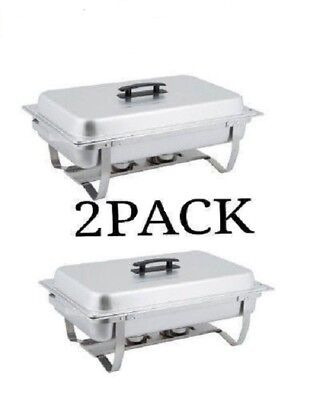 2 Pack Catering Stainless Steel Chafer Chafing Dish Sets 8 Qt Full Size Folding