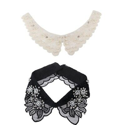 2PC Choker Necklace Women Peter Pan Detachable Lapel Shirt Fake False Collar