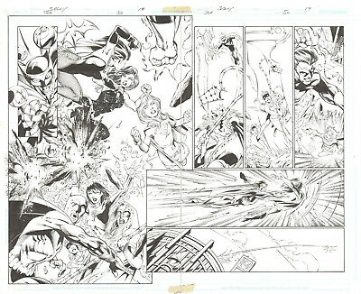 """Jla #50 Page 18 And 19 Double Page Spread Comic Art By Mark Bagley 20""""x15.5"""""""