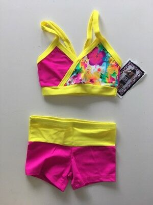 Lexi Luu Girl's L/ Hot Pink, Florescent Yellow Floral Crop Top & Booty Shorts