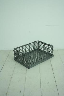 Vintage Industrial Galvanized Metal Stacking Crate With Handles #2322