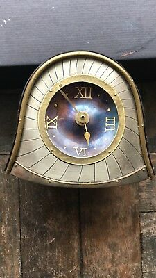 Quirky Mantle Piece Clock, old fashioned mixed metals in Good Condition, signed