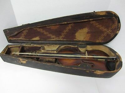 Vintage/Antique Fiddle Violin and Bow, Handmade Coffin Case - Needs Some Love