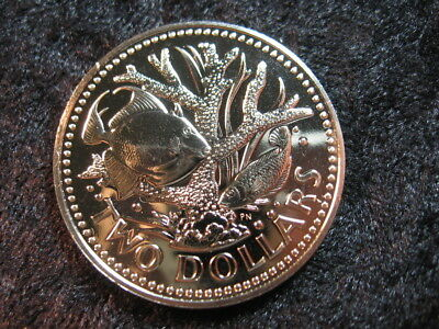 1 Special UNC world coin BARBADOS $2 KM15 1975 Staghorn coral Triggerfish