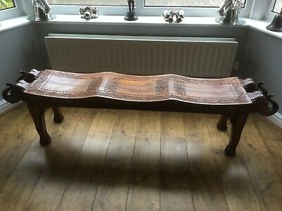 Large Wooden Elephant Bench Seat Indian Rosewood Sheesham Wood Dressing Seat