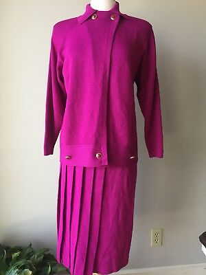 Vintage ST JOHN Collection By Marie Gray Purple Sweater Suit Set Size 8 USA