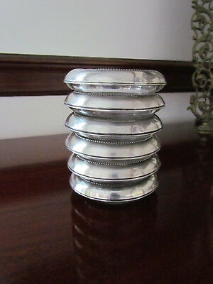 Vintage Set 6 Sterling Silver & Glass Coasters Holders Frank M Whiting Signed