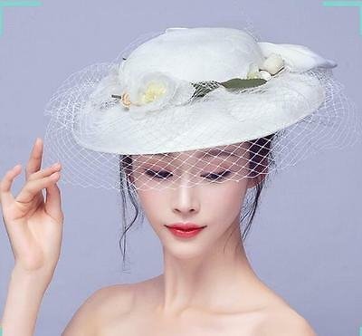 5f19c35633393b Lace Floral Womens Mesh Kentucky Derby Church Wedding Wide Brim Bride Hat  Summer