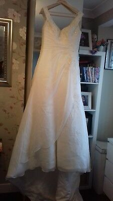 ivory wedding dress mori Lee by Madeline Gardner size 14 with bag and veil
