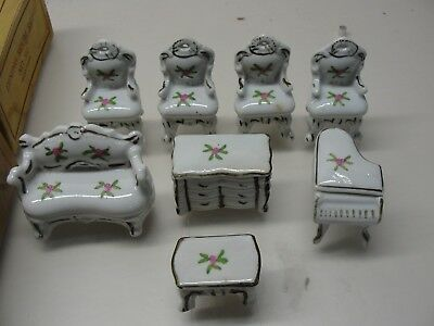 Vintage 8 Piece Porcelain Doll House Furniture Chairs Piano Dresser Table
